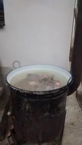 Die ersten Innereien und Fleischstücke werden schon gleich gekocht, es liegt ein würziges (und fleischiges) Aroma in der Luft!